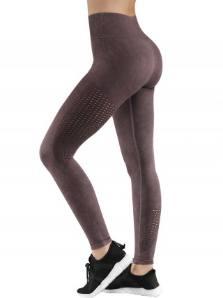 High Elastic Purple Full-Length Yoga Legging Hollow Out Stretch