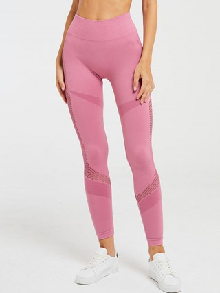 Daring Pink Yoga Legging Seamless Mesh Patchwork For Upscale