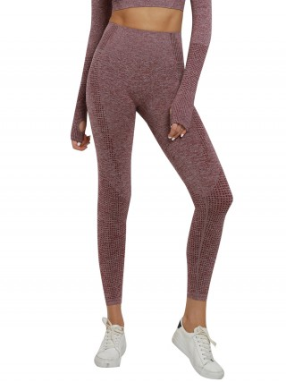 Seductive Wine Red Running Leggings Seamless High Waist Casual Look