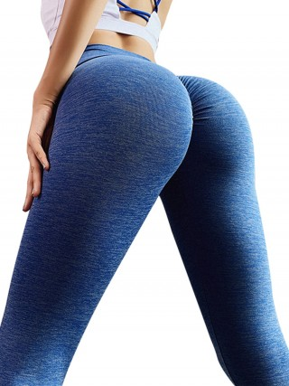 Heartthrob Blue Full Length High Rise Sports Leggings Moisture Wicking