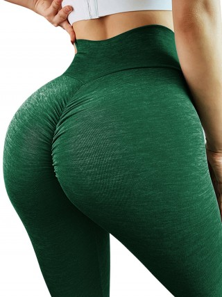 Breathable Green Cross Waist Yoga Leggings Solid Color For Stunner