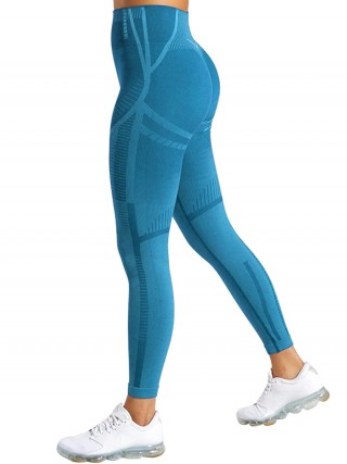 Super Comfy Blue Yoga Leggings Fast Drying Seamless Sweat Absorption