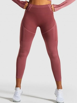Snazzy Red Stripe Print High Waist Running Leggings Natural Outfit