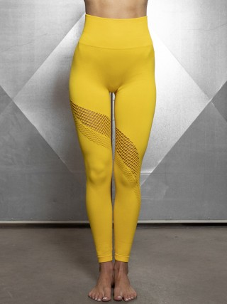 Exquisite Gold Exercise Legging Mesh Abdominal Control Casual