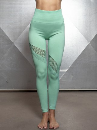 Stretch Green Athletic Legging Seamless High Waist Female