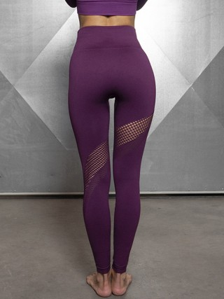 Purple Ankle Length Hollow Out Sports Legging Leisure Time