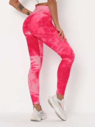 Luscious Pink Tummy Control Tie-Dye Running Pants Running Clothes