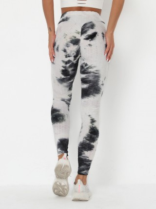 Fashionable White High Waist Yoga Pants Tie-Dye Print Best Workout