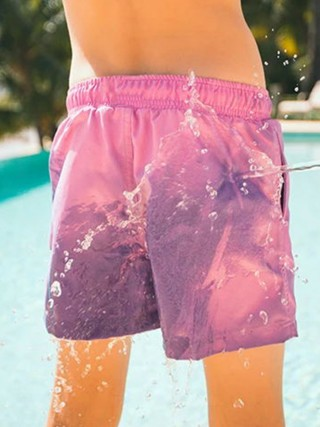 Appealing Pink Men's Swimming Trunks Change Color Good Elasticity