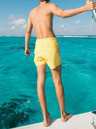 Awesome Yellow Heat Reactive Quick Dry Beach Shorts Romance Time