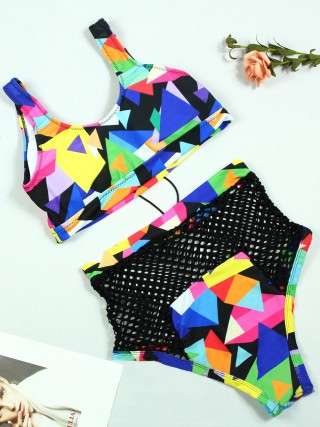 Glossy Lace-Up Bikini Hollow Out Geometric Print Romance Time