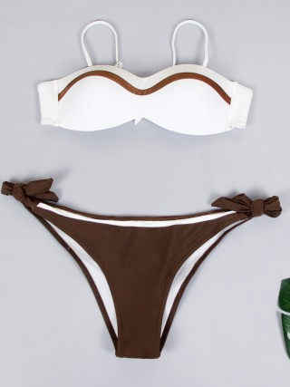 Incredibly Bikini Patchwork Bow-Knot Open Back Female Charm
