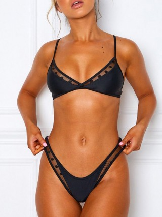 Chic Black Sheer Mesh Sling Bikini High Cut Cool Fashion