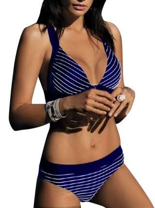 Dark Blue Padded Bikini Stripe Paint High Cut Beach Playing Time
