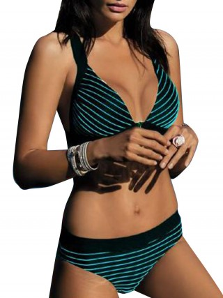 Conservative Blackish Green Bikini Wireless Backless High Cut