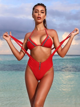 Vivifying Red Back Straps Swimsuit Zip Suspender Honeymoon