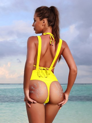 Gorgeous Yellow Suspender Bikini Back Lace-Up Zipper Natural