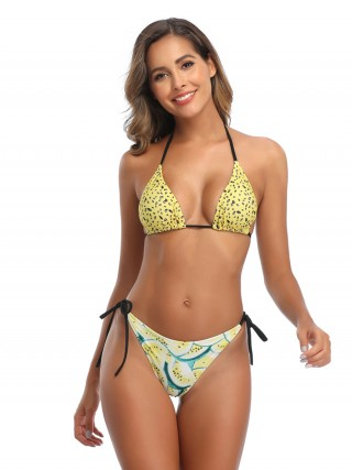 Honeymoon Yellow Wireless Bikini High Cut Sling Women Fashion