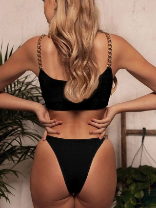 Scintillating Black Chain Strap Bikini High Cut Backless Beach Party Time
