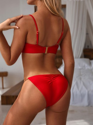 Incredibly Red Adjustable Strap Solid Color Bikini Simplicity