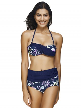 Matching Tibetan Blue Halter Neck Bikini High Waist Lace-Up