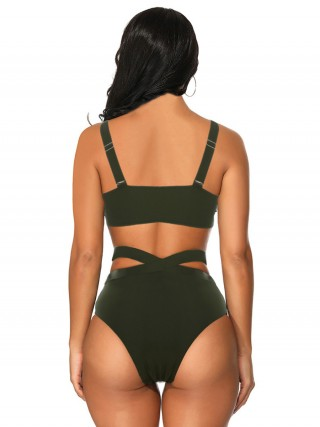 Appealing Blackish Green Bikini High Waist Adjustable Strap
