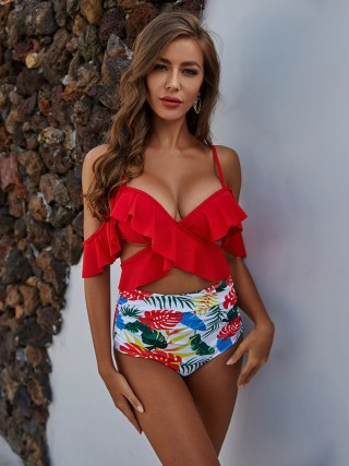 Tropical Bikini Irregular Ruffle High Rise Extra Sexy