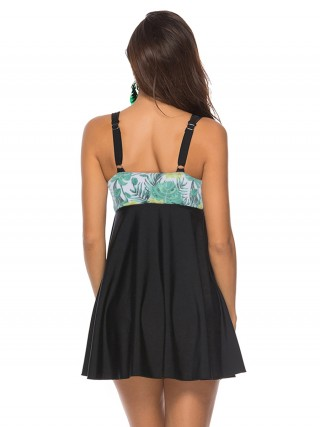 Dazzling Leaf Pattern Beach Dress With Bottoms Fashion