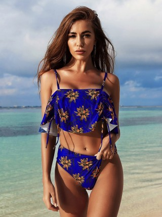 Unforgettable Blue Floral Paint Tankini Adjustable Strap Women Outfits