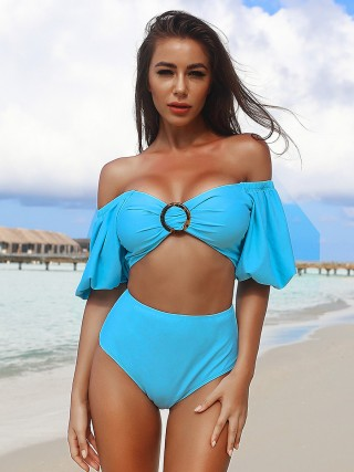 Daring Blue Free Wire 2 Pcs Swimwear High Rise Best Materials