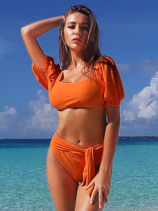 Distinct Orange Padded Beachwear Set High Rise Female Charm