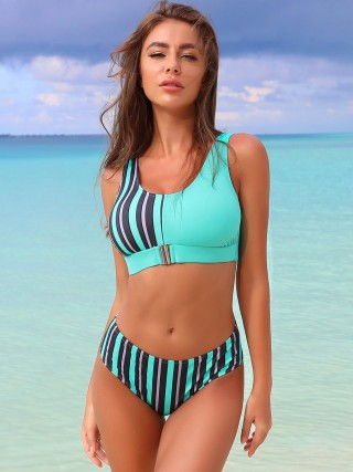 Boldly Bikini Stripe Pattern Wide Strap Seaside Time