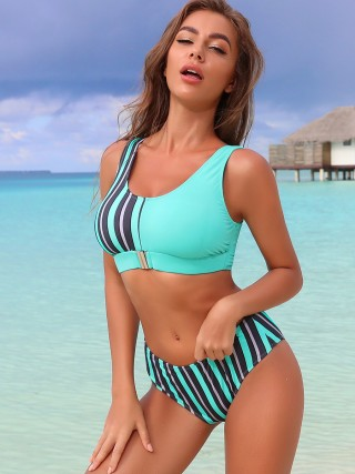 Boldly Bikini Stripe Pattern Wide Strap Womens Fashion
