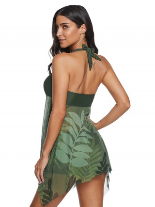Pool Party Green Irregular Long Hem Swimwear Mesh
