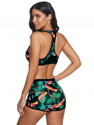 Unique Green Queen Size Bikini Set Floral Print Lady Fashion