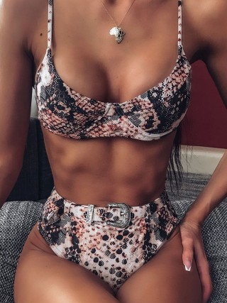 Sophisticated Bikini Serpentine Print High Cut Women Swimwear Wholesale
