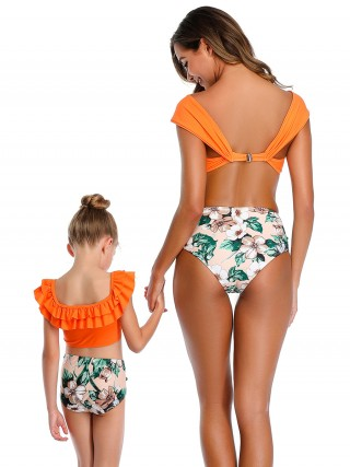 Beach Orange Mom Kid Swimwear High Waist All-Match Style