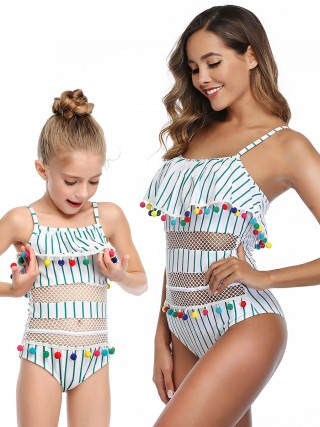 Shop Mom Kid Beachwear Stripe Paint Women Swimwear Wholesale