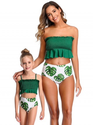 Cozy Green Mom Daughter Beachwear Shirring High Cut Ultra Hot