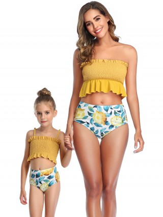 Extreme Yellow Pleated Family Swimwear High Rise Wholesale