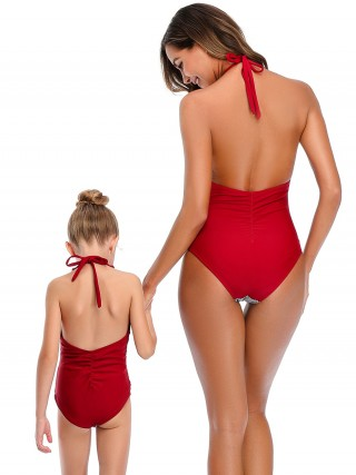 Dynamic Wine Red One Piece Beachwear Halter Collar Backless