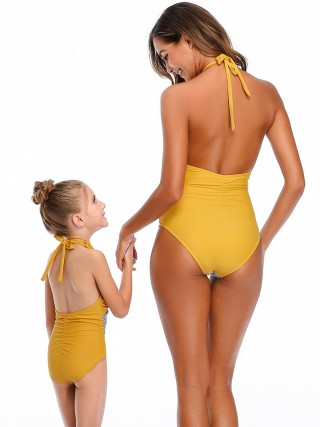 Ocean Yellow Halter Neck One Piece Swimsuit Classic Swimwear