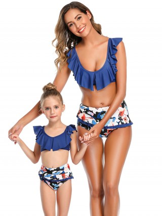 Quirky Purplish Blue Flower Paint Mom Girl Swimwear Wireless