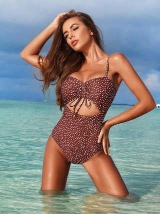 Endearing Brown Polka Dots Padded Monokini Wireless Lady Swimwear