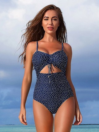 Push Up Dark Blue Strap One Piece Swimwear Drawstring Women's Essentials