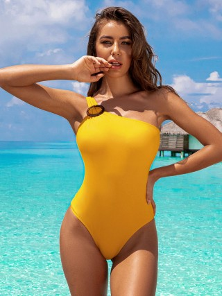Multi-Function Yellow Monokini Solid Color High Cut Leg Fashion