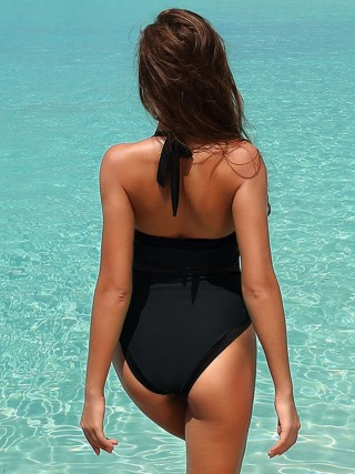 Fetching Black Solid Color Backless One-Piece Beachwear Chic Fashion