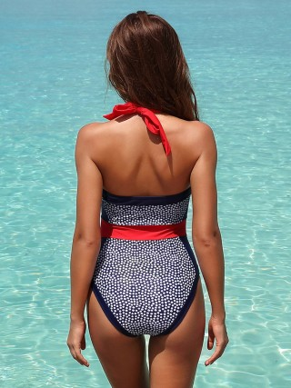 Wonderful Polka Dots One Piece Swimwear Colorblock Under The Sun