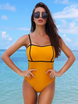 Beach Vacation Yellow Swimwear Colorblock Open Back Strap Poolside