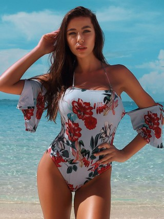 Abstract Flower Print Halter Neck Beachwear Summer Holiday